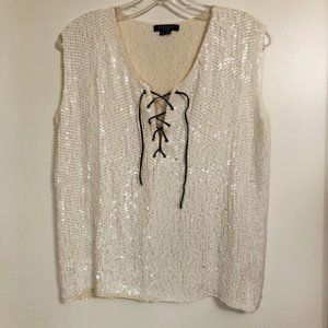 Vintage GRYPHON Ivory Silk Lace Up Sequin Top XS